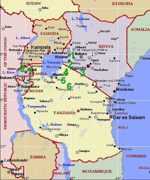 LIVING TRAVEL EAST AFRICA MAP - Map of eastern africa