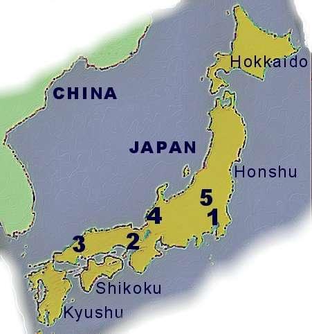 Ancient Japan - Japan map islands
